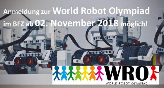 Melde Dich für die World Robot Olympiad 2019 (WRO) im BFZ an!